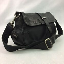PRADA Women's Black Leather  Nylon Crossbody  Shoulder Bag