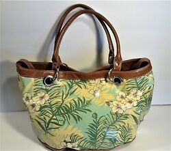 BUENO  Vinyl  FLORAL  Hobo  Tote  Beach BAG- Browns & Greens lined with pockets