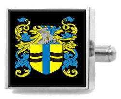 Mccleary Ireland Heraldry Crest Sterling Silver Cufflinks Engraved Box