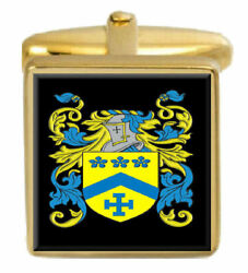 Titter England Family Crest Surname Coat Of Arms Gold Cufflinks Engraved Box