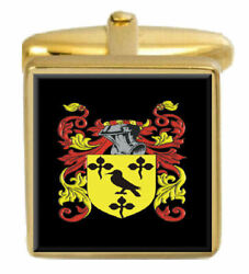 Stockton England Family Crest Surname Coat Of Arms Gold Cufflinks Engraved Box