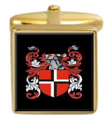 Haly Ireland Family Crest Surname Coat Of Arms Gold Cufflinks Engraved Box