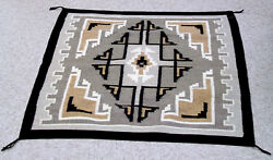 Mint Conditon Navajo Two Gray Hills Rug 40 1/2 X 35 C.1970s Fine And Tight Weave