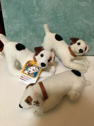JACK RUSSELL TERRIER PLUSH DOG  WISHBONE Lot Of 3 Pounce And On Belly Poses
