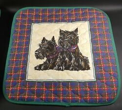Pair Scottie PILLOW Covers or Placemats Scottish Terrier Scotty Dog