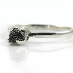 Sterling Silver Swirl Ring Black Raw Rough Diamond Engagement Ring - SIZE 4-10