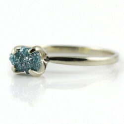 Blue Rough Diamond Ring 14K SOLID Gold - Conflict Free Natural Diamond SIZE 4-10