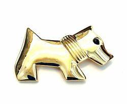 Scottie Terrier Dog Brooch Pin Yellow Gold Plated Crystal Christmas Gifts New