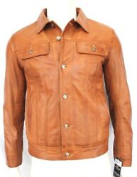 New Winston Menand039s Classic Western Trucker Style Tan Soft Napa Leather Jacket