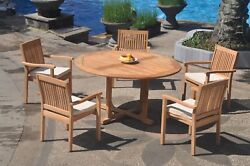 Dslv A-grade Teak 6pc Dining Set 60 Round Table 5 Stacking Arm Chair Outdoor
