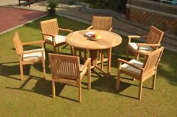 Dslv A-grade Teak 7pc Dining Set 48 Round Butterfly Table 6 Stacking Arm Chair
