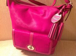 NWT COACH LEGACY WOMEN'S FUCHSIA HAIRCALF LARGE DUFFLE SHOULDER BAG PURSE F21158