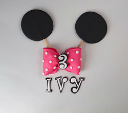 Minnie Mouse Bow Ears Cake Topper Set Decorations Edible Figure Personalised Kit