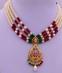Indian Bridal Set Party 22k Gold Necklace Jewelry Set With Earring Pair Womenand039s