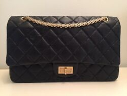 AUTHENTIC CHANEL 2.55 Reissue size 227 Double Flap Black with gold HW