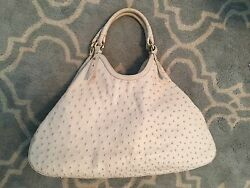 Auth Cole Haan Collection Large Exotic Ostrich Hobo - Cream Beautiful