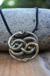 Neverending Story Antique Bronze Auryn Necklace Leather Never Ending Snakes 22