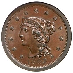 1849 N-7 Ngc Ms 64 Bn Braided Hair Large Cent Coin 1c Ex Reiver