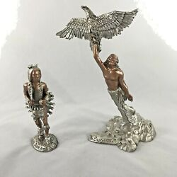 1990 Masterworks Fine Pewter 6 1/2 Inch-the Eagles Gift Set Of 2 Statues New