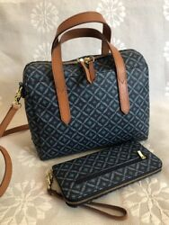 FOSSIL SYDNEY Blue Print Coated Canvas Satchel Crossbody Domed Bag  Wallet