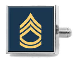 Sterling Engraved Cufflinks Army Sergeant First Class