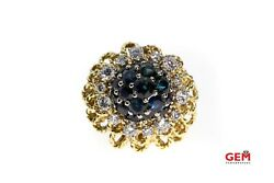 Antique Solid 18k 750 Yellow Gold Diamond Sapphire Bauble Cocktail Ring 6.25