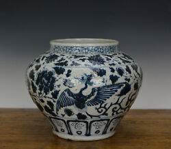 Old Large Chinese Ming Style Blue And White Phoenix Porcelain Pot