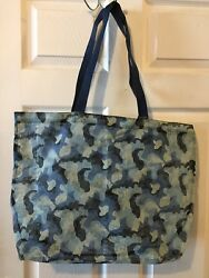 Old Navy large tote beach bag Mesh Camouflage Blue