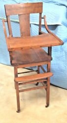 Antique Mission Goldern Oak Child's High Chair C Early 1900s All Original Vgc