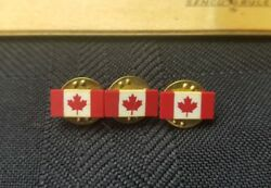 Vintage Canadian Flag Small Lapel Pin Or Tie Tack Canada Maple Leaf Lot 3