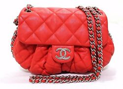 Auth CHANEL Chain Around Bag Lamb leather Messenger Bag Crossbody Red (371017)
