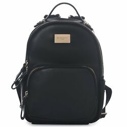 DAVIDJONES Black Classic Girls Mini Vegan Leather Backpack Shoulder Bag for W...