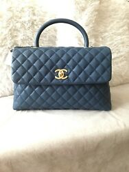 AUTH CHANEL MEDIUM CoCo TOP HANDLE CALFSKIN FLAP BAG CROSSBODY