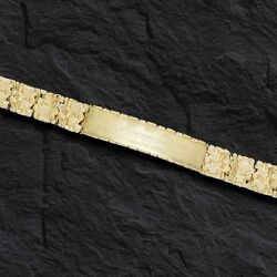 10k Solid Yellow Gold Handmade Menand039s Id Nugget Bracelet 9 Mm 35 Grams 8 Inches