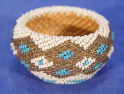 Antique Nevada Coiled Willow Paiute Beaded Basket 2 5/8 X 1 1/2 C.1930