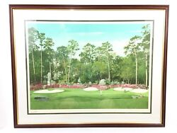 Arnold Palmer Signed 22x32 Print 13th Hole At Augusta Framed Jsa Loa Masters