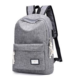 DXYIZU Heather Grey Canvas Unisex Laptop Backpack Bag with USB Charger Port $11.99