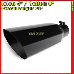 Exhaust Muffler Tip 213896 Truck Angled Octagon Black 18 Inch Bolt-on 4 In 6 Out