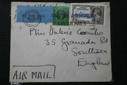 Straits Settlements Air Mail Cover To England 1935 Via Singapore A95 Dair80