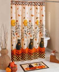 Halloween Bathroom Shower Curtain Country Carved Pumpkins and Black Cats