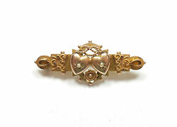 Antique Edwardian Pearl Brooch Love Hearts 1907 Hm 9 Carat Yellow Gold 3.2g