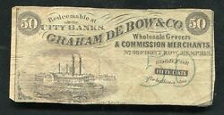50 Fifty Cents Graham De Bow And Co. Memphis, Tn Obsolete Scrip Note Rare