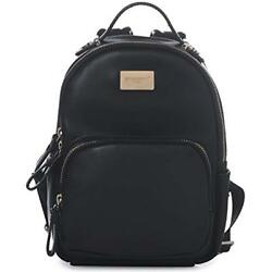 DAVIDJONES Shoulder Bags Black Classic Girls Mini Vegan Leather Backpack For