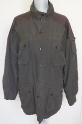Orvis Army Green Military Field Ranger Jacket With Brown Leather Trim - M - 550