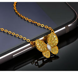 18k Yellow Gold Natural Yellow Color Diamonds Flying Butterfly Pendant Necklace