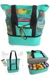Aruba Mesh Beach Tote Bag with Zipper Top and Insulated Picnic Cooler Durable
