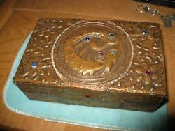 Repousse And Glass Sea Monster And Flowers Over Carved Wood Cigarette Box Kremlin