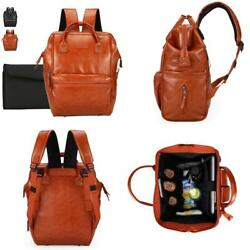 Classic Leather Baby Diaper Bag Backpack Unisex Wide Open With Stroller Straps