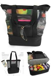 Aruba Mesh Beach Tote Bag with Zipper Top and Insulated Picnic Cooler Black Free