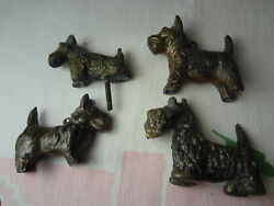 Vintage Group Metal  Scottish Terrier Dog Figurines Antique ?